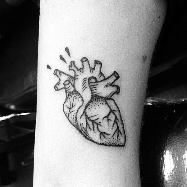 Anatomical Heart Awesome Simple Mens Forearm Tattoo Designs