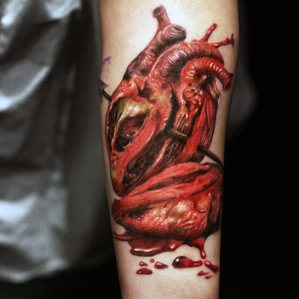 Anatomical Heart Mens Realistic Inner Forearm Tattoos