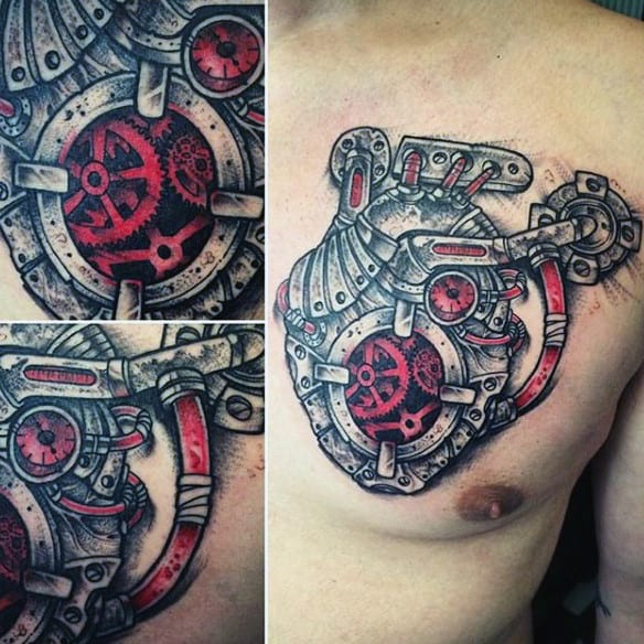 Anatomical Heart Shaped Steampunk Tattoo On Male Chest
