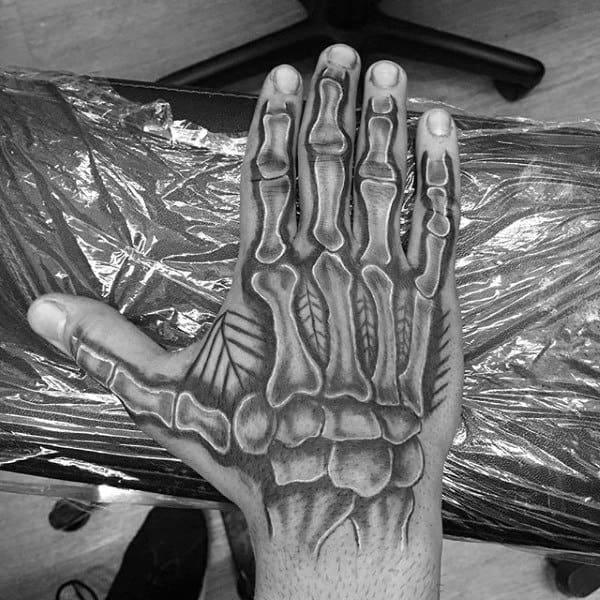 Anatomical Skeleton Hand Mens Tattoo Ideas