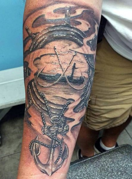 Anchor And Fishing Lure Tattoos For Guys