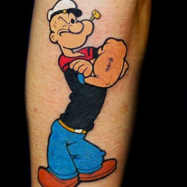Anchor Popeye Male Arm Tattoo