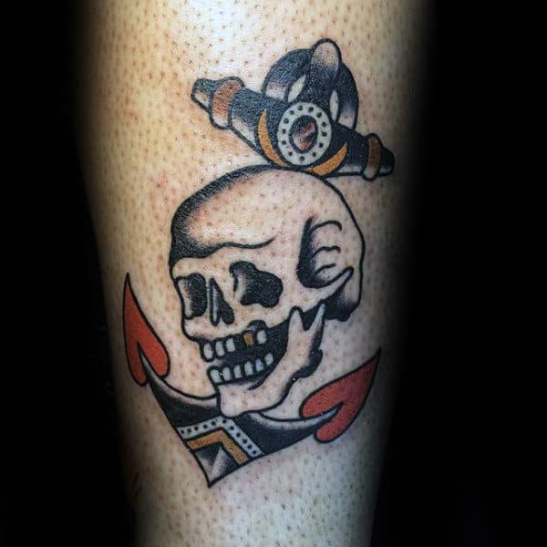 Anchor Skull Traditional Guys Small Inner Forearm Tattoos