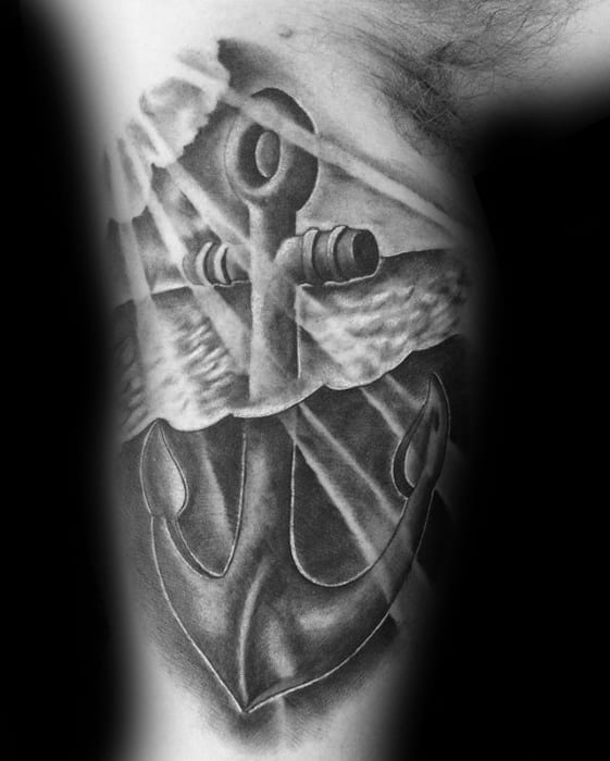 Anchor Under Water 3d Mens Inner Arm Bicep Unique Tattoos