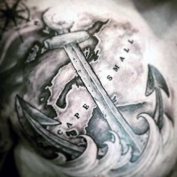 Anchor With Map And Waves Cool Chest Tattoo Ideas For Gentlemen