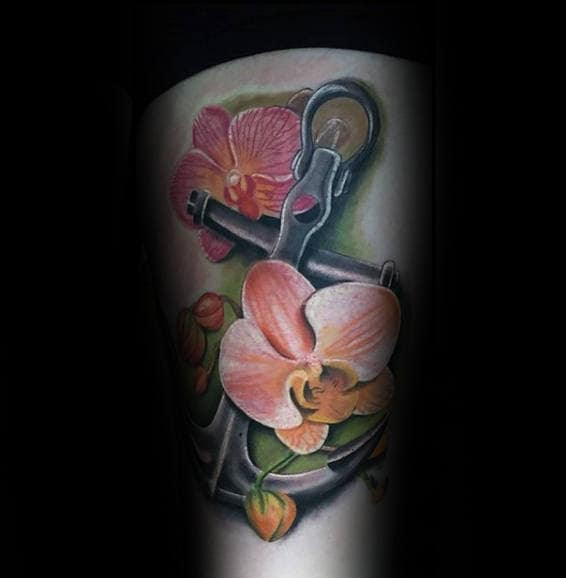 Anchor With Orchid Mens Thigh Tattoos