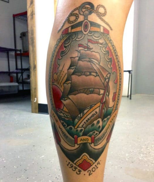 Anchor With Sailing Ship Retro Traditional Leg Tattoos For Males