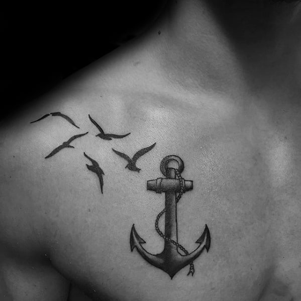 Anchor With Seagulls Mens Upper Chest Tattoos