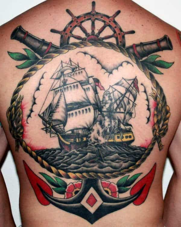 Anchor With Ship Traditional Male Tattoo On Back