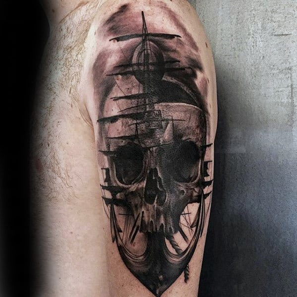Anchor With Skull Great Guys Arm Tattoo Ideas