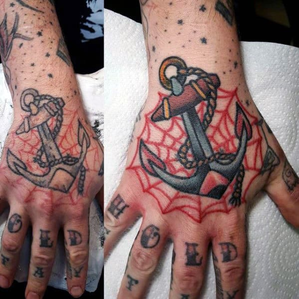 Anchor With Spider Web Traditional Hand Tattoo Ideas For Guys