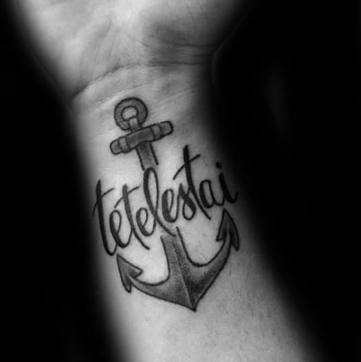 Anchor With Tetelestai Traditional Mens Wrist Tattoos