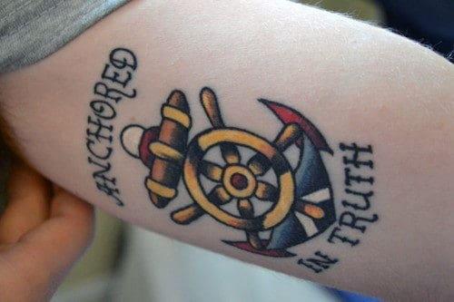 Anchored In Truth Mens Small Ship Wheel Tattoo Design Inspiration