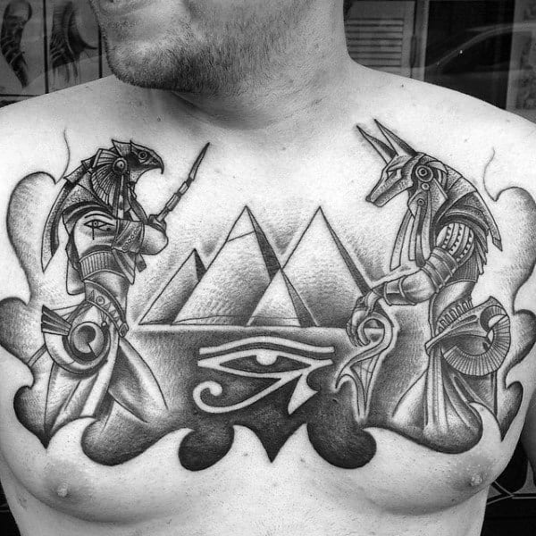 Ancient Egypt Themed Eye Of Horus Upper Chest Mens Tattoos