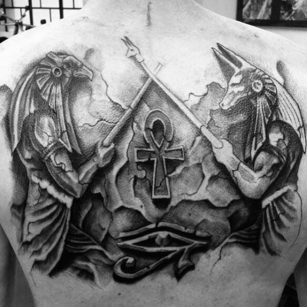Ancient Egyptian Hieroglyphic Ankh Back Tattoos For Guys