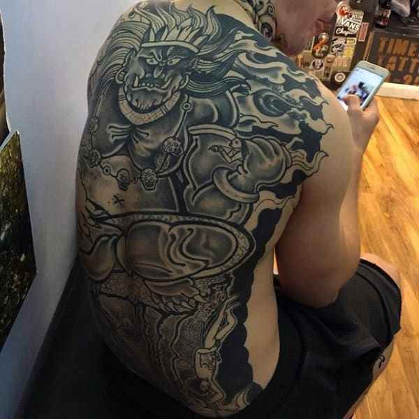 Ancient God Themed Male Crazy Back Tattoo Ideas