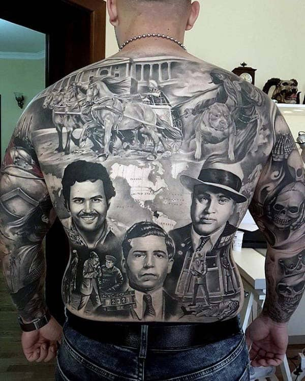 Ancient Rome And Mobster Themed Mens Extreme Full Back Tattoos