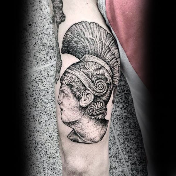 Ancient Tribal Woman With Head Dress Dotwork Tattoo On Male Arms