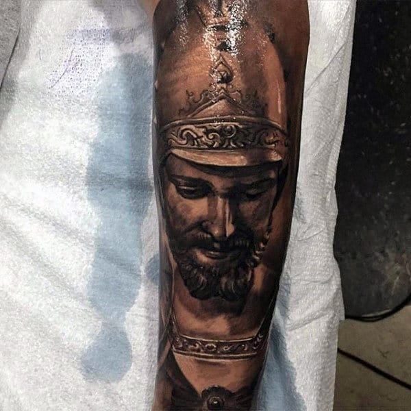 Ancient Warrior Inner Forearm Male Tattoo Ideas