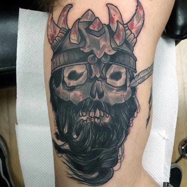 Ancient Warrior Skull With Crown Inner Arm Designs For Men