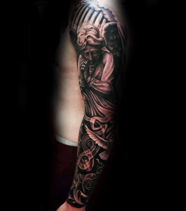 Angel Chicano Mens Sleeve Tattoo