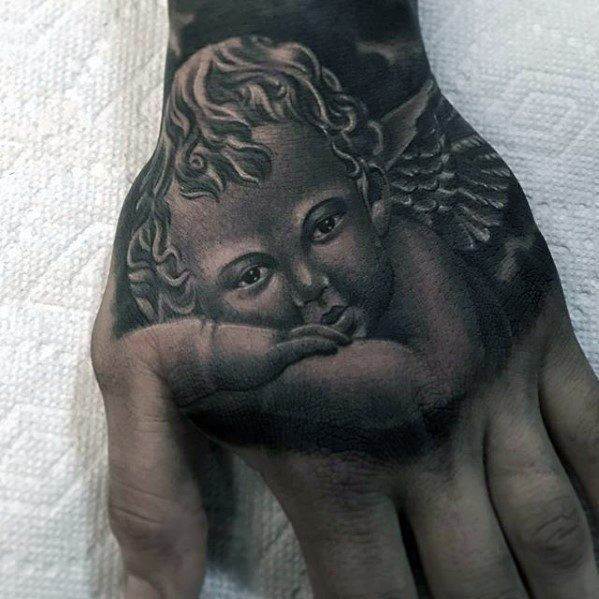Angel Hand Guys Tattoo Cover Up Ideas