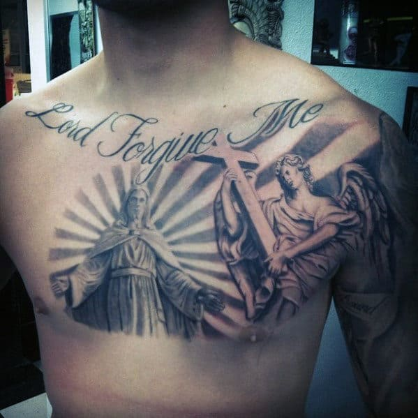 Angel Holding Cross With Lord Forgive Me Quote Mens 3d Chest Tattoos
