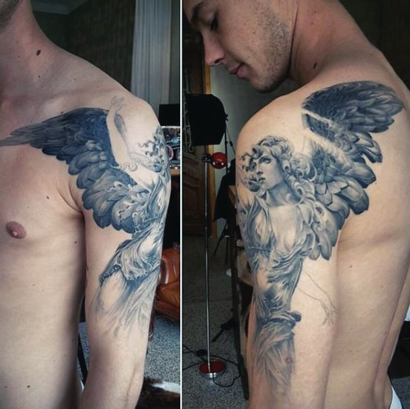 Angel One Wing Tattoo For Men On Arm Faded