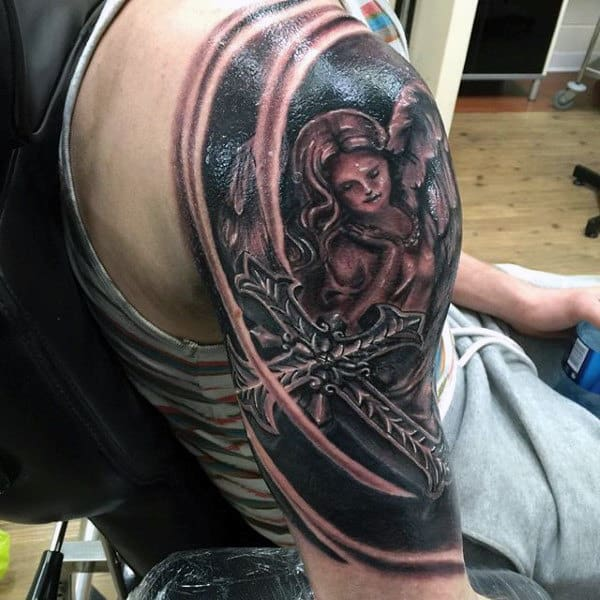 Angel Religious Tattoo Male Upper Arms