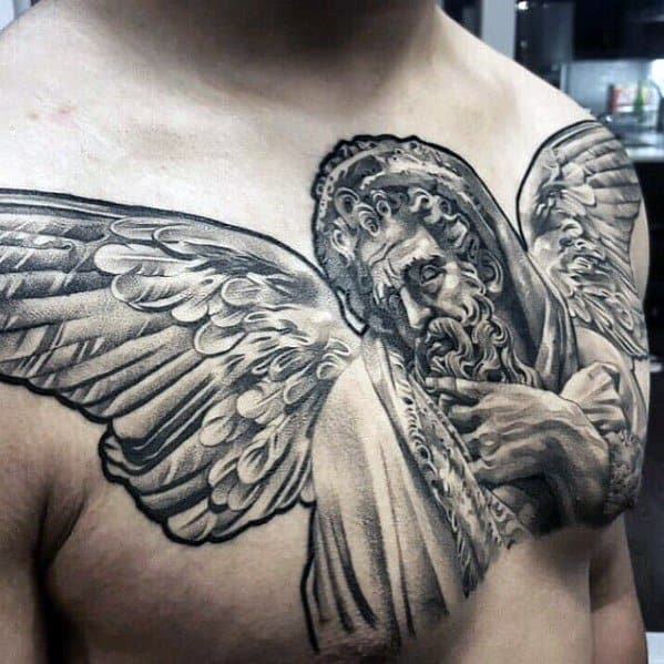 Marvelous Angel Statue 3d Chest Guys Tattoo Ideas