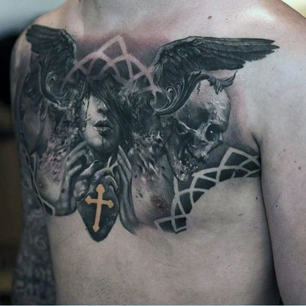 Angel Tattoo Chest Designs For Men