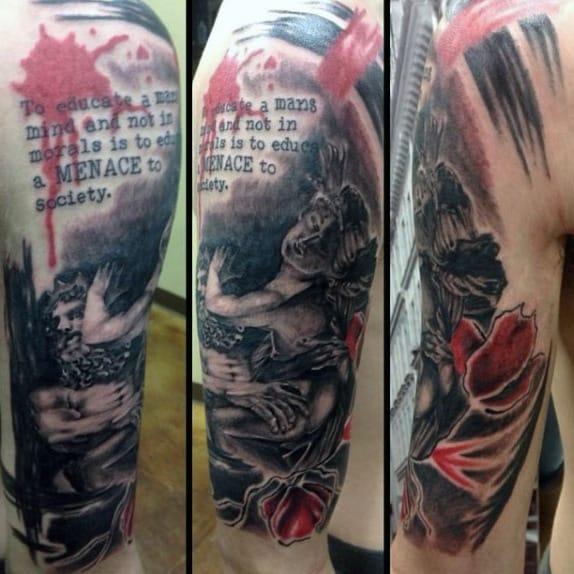 Angel Trash Polka Guys Half Sleeve Tattoos