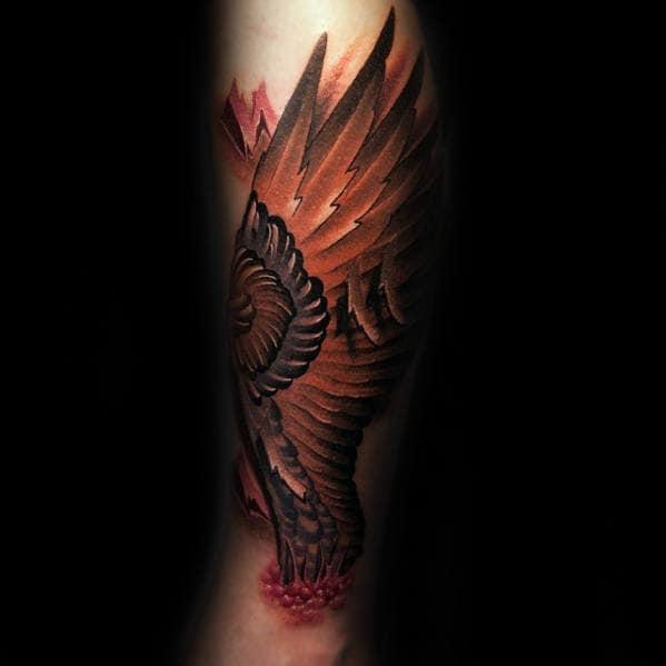 Angel Wing Mens 3d Leg Tattoo