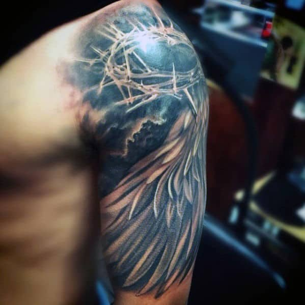 Angel Wing With Crown Of Thorns Mens Half Sleeve Tattoos