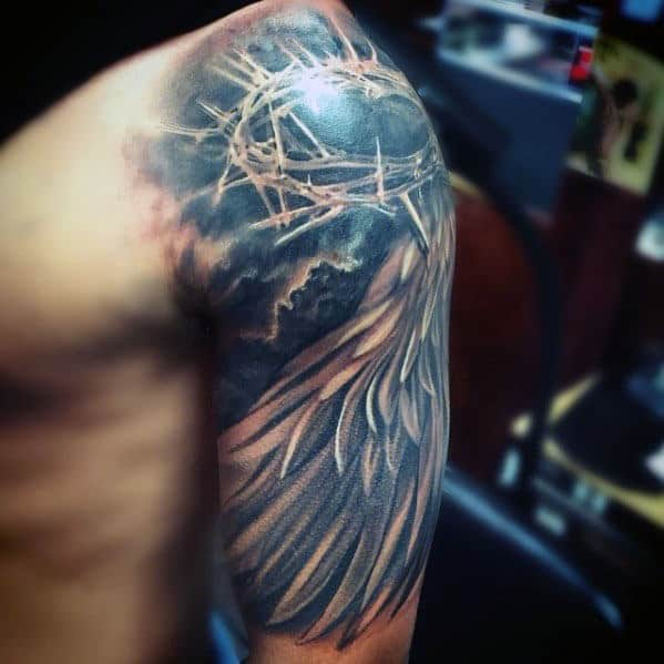 Angel Wing With Crown Of Thorns Mens Jesus Half Sleeve Tattoo