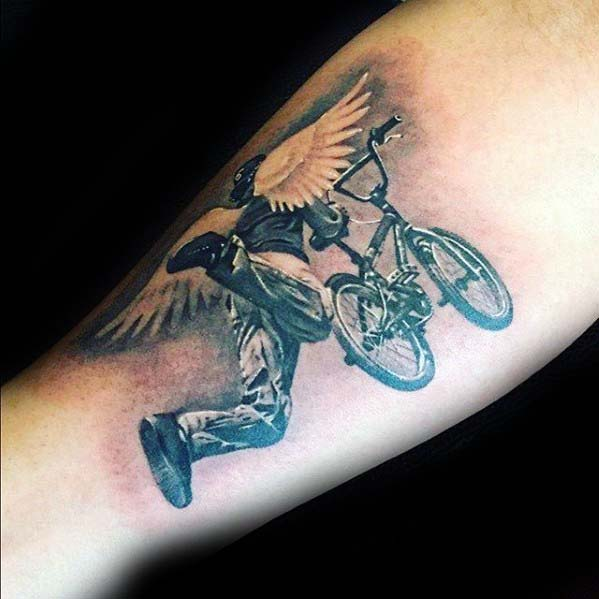 Angel Wings Bmx Rider Guys Inner Forearm Tattoo