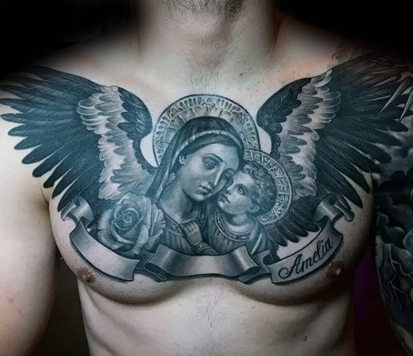 Angel Wings Mother Mary Guys Catholic 3d Upper Chest Tattoo