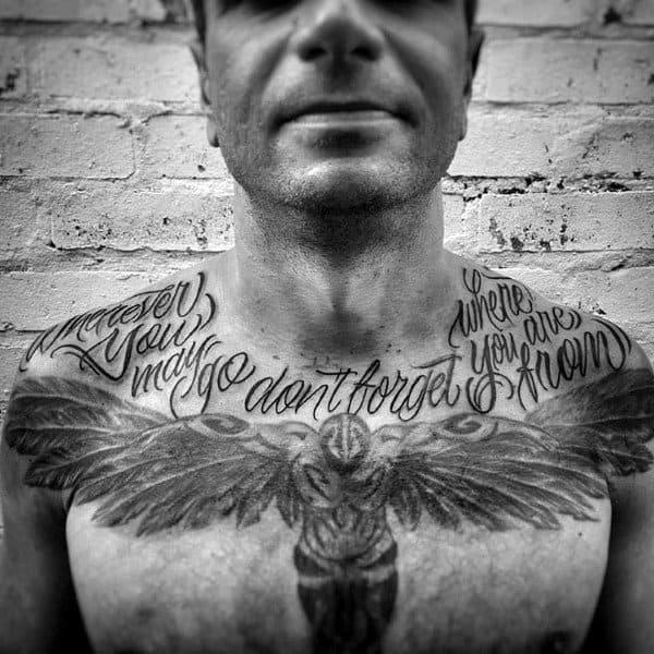 Angel Wings Script Guys Upper Chest Tattoos