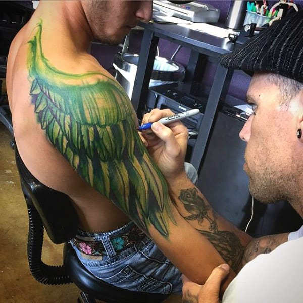 Angel Wings Tattoo Designs For Males On Upper Arm And Shoulder