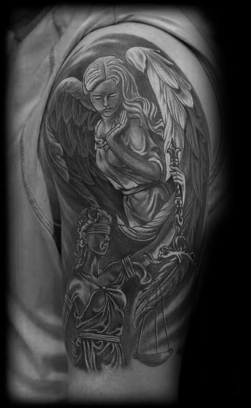 Angel Wings With Lady Justice Mens Half Sleeve Tattoo