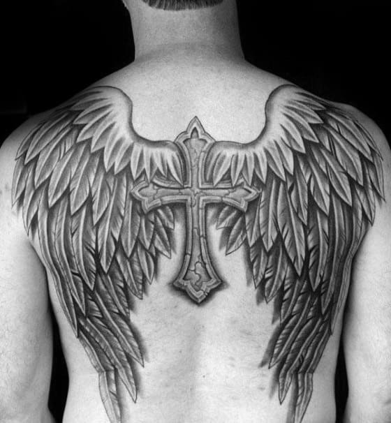 Angel Wings With Stone Cross Badass Back Tattoos For Guys