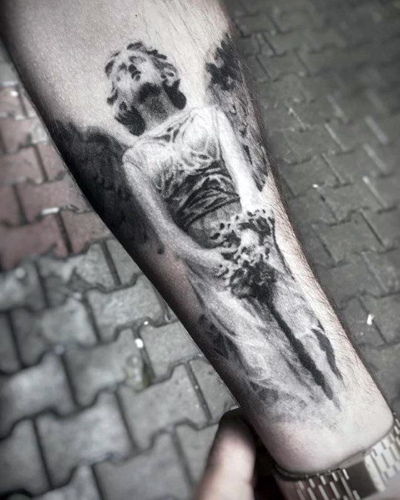 Angel With 3d Design Guys Unique Forearm Tattoo
