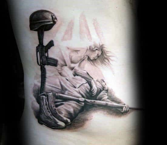 Angel With Fallen Soldier Mens 3d Rib Cage Side Tattoo