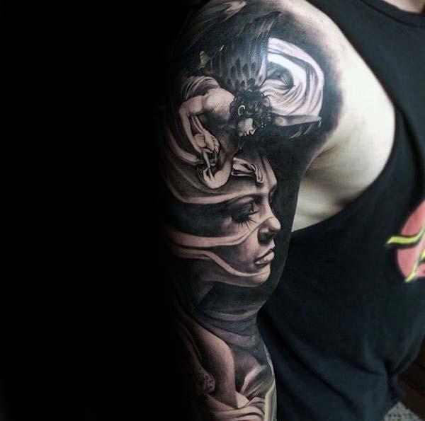 Angel With Female Portrait Guys Nice Full Arm Sleeve Tattoos