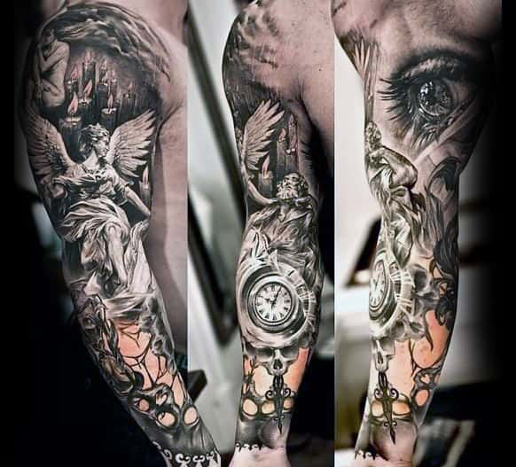 Angel With Pocket Watch Unique Mens Sleeve Tattoo