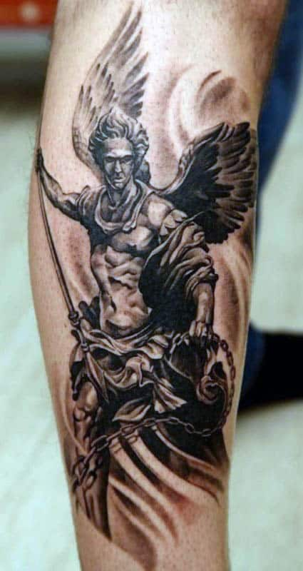 Angel With Spear Mens Forearm Tattoo