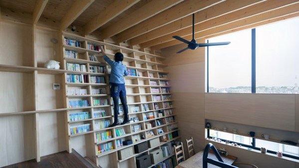 Angeled Floor To Ceiling Bookshelves Design Ideas