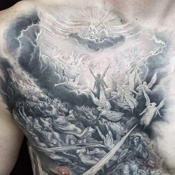 Angels Flying In Heaven Guys Badass Upper Chest Tattoo