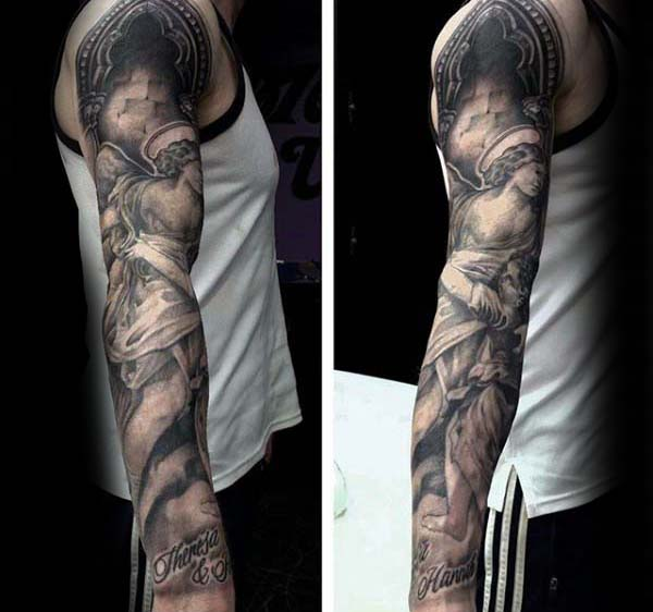 Angels Religious Extreme Guys Full Sleeve Tattoo Inspiration