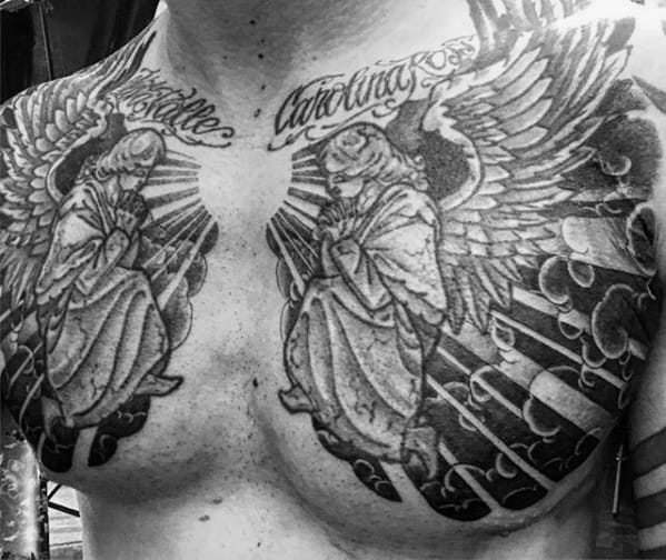Angels Sitting On Cloud Mens Chest Tattoo